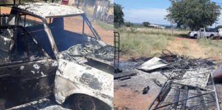 Mob attack, torch homes and vehicle, Gilead. Photo: SAPS