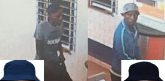 Three men wanted in connection with bank robbery, Orkney. Photo: SAPS