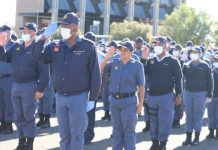 COVID-19 operations: Deputy Minister of Police addresses parade, Kimberly. Photo: SAPS