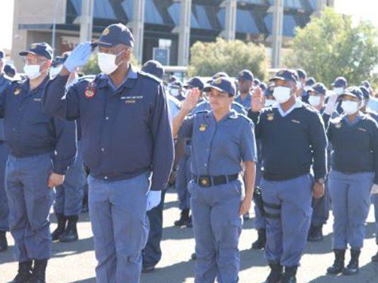COVID-19 operations: Deputy Minister of Police addresses parade, Kimberly. Photo: SAPS
