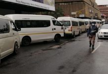 16 Taxis impounded for operating outside the lockdown rules, Pretoria. Photo: Arrive Alive
