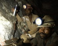 26 Aug 2005, South Africa --- Goldmine drilling 3km underground, Gauteng, South Africa --- Image by © Hannelie Coetzee/Great Stock/Corbis