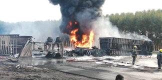 Trucks collide on N2, both drivers burn to death, KZN North Coast. Photo: Arrive Alive