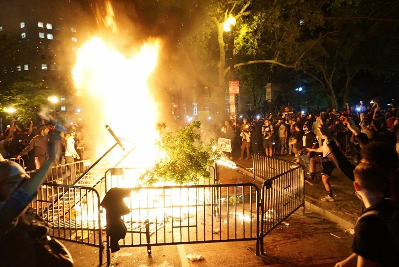 Fires burn in Washington DC during protests caused by the police killing of George Floyd