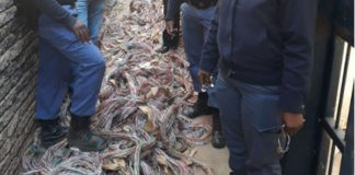 Infrastructure damage, copper cables worth R500k recovered, Batlharos. Photo: SAPS