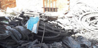PRASA infrastructure destruction, R10 mil worth of cables recovered, Brits. Photo: SAPS