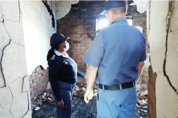 Fire disaster at Hlababomvu SAPS barracks. Photo: SAPS