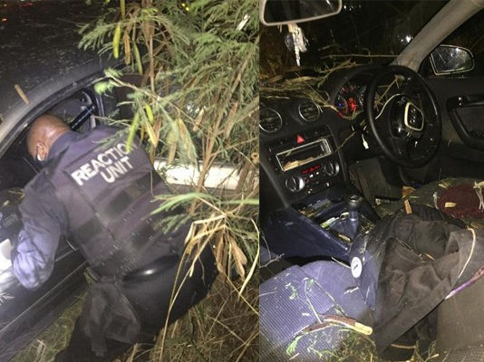 House robbery suspects flip car during high speed chase, Tongaat. Photo: RUSA