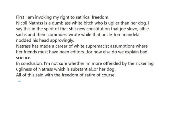 Unisa lecturer social media abuse: 'Dumb ass white bitch who is uglier than her dog'. Photo: AfriForum