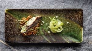 David Higgs' Seabass With Lentil Curry And Pickled Cucumber