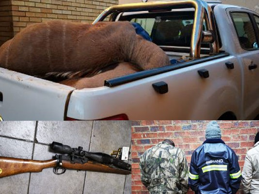Three men arrested for illegal hunting, Kuruman. Photo: SAPS