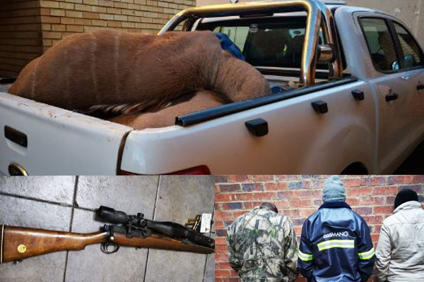 Three men arrested for illegal hunting, Kuruman. Photo: SAPS