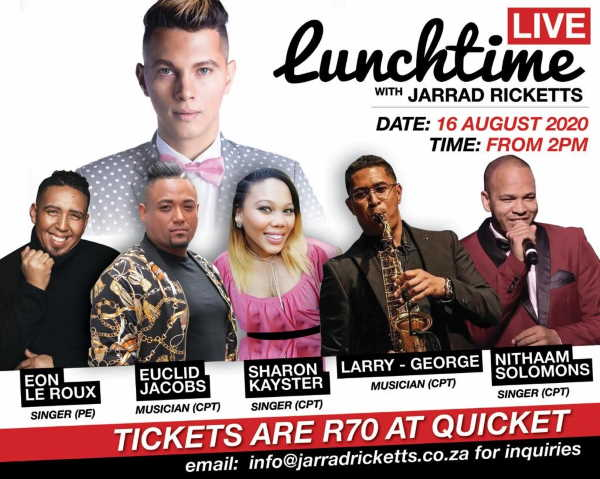 SA singer and songwriter, Jarrad Ricketts, will be hosting his 7th virtual concert experience of LUNCHTIME LIVE next week
