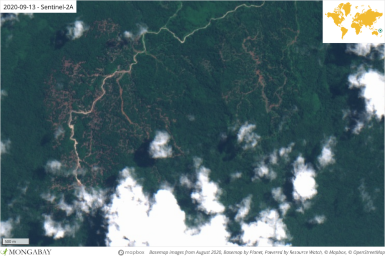 Satellite imagery shows an area of recent road development on Nende.