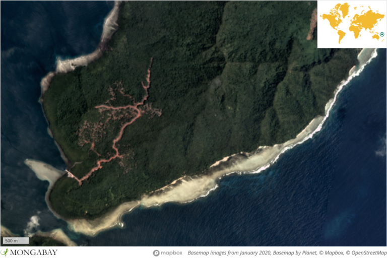 What appears to be a logging road and forest thinning appeared on Temotu in late 2019.