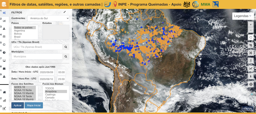 Hotspot alerts are available in the INPE fire monitoring platform (Programma Queimadas) from many different satellites. Here, Amazon hotspot data from September 10, 2020 from all satellites are shown. A menu on the left allows the user to select time, location, satellites, etc. (Screenshot)