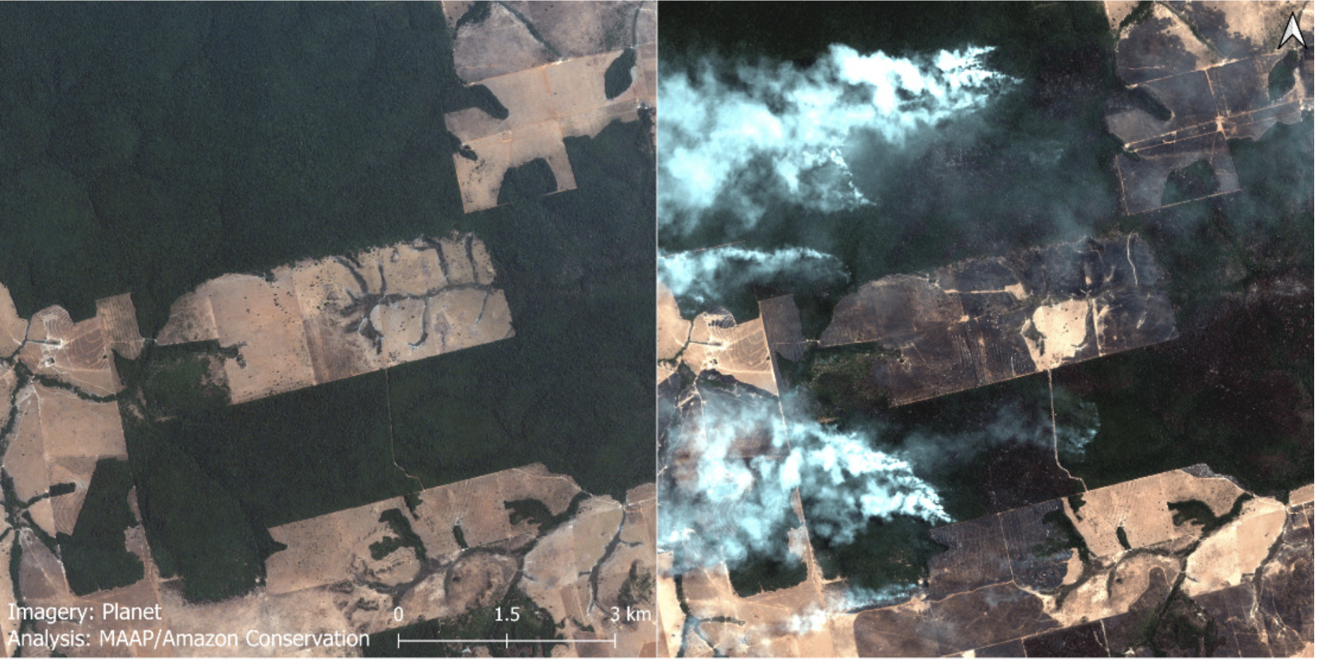 High-resolution satellite images (courtesy of Planet) show the before (left panel) and after (right panel) of a recent major fire in the Brazilian Amazon (Mato Grosso state) showing the surrounding matrix of forest fires, recently deforested area fires, and cropland fires. Photo courtesy of Planet/MAAP.