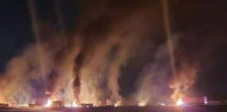 Nine trucks torched by armed gang, Heidelberg. Photo: Facebook